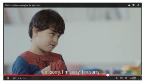 Still from film depicting Dutch children apologizing for terrorism. (YouTube)